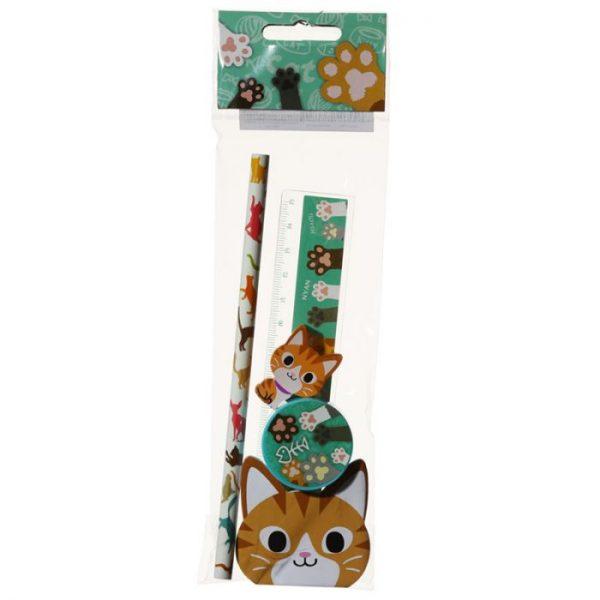 5-dílná sada kočičích školních potřeb - oranžová 2 - pro milovníky koček