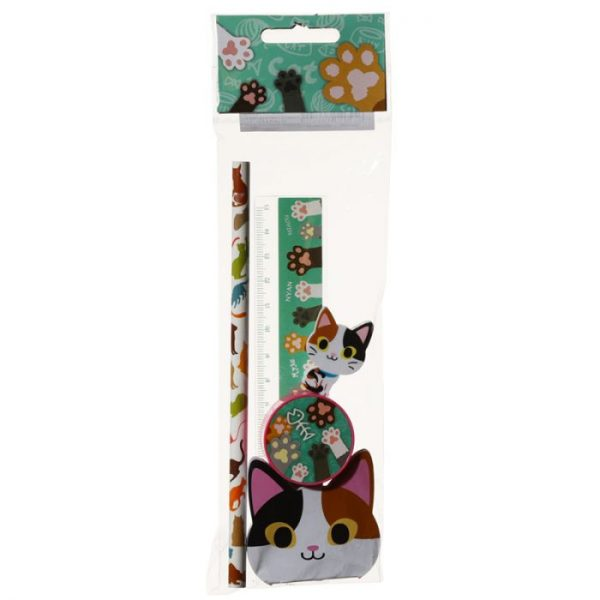 5-dílná sada kočičích školních potřeb - černo-oranžová 2 - pro milovníky koček