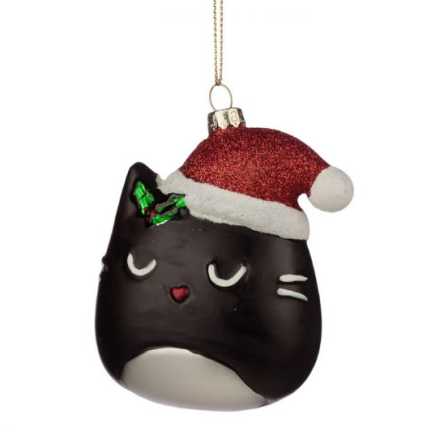Feline Fine Skleněná vánoční dekorace kočičí hlava 1 - pro milovníky koček