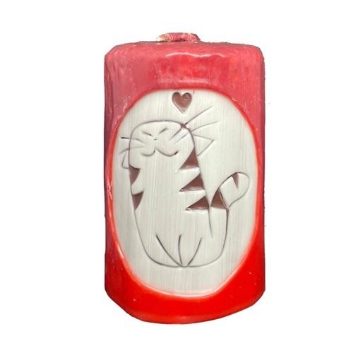 Aromatická ručně vyráběná svíčka - červená s vůní grapefruitu, kočka se srdcem 1 - pro milovníky koček