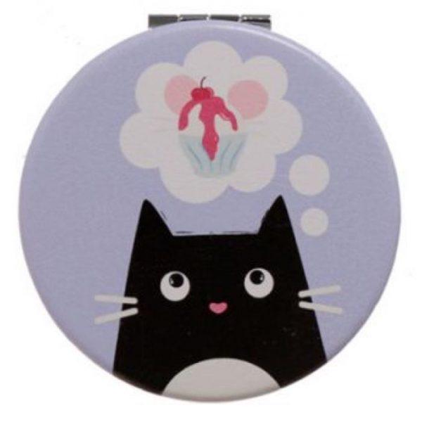 Feline Fine Cat Leatherette Compact Mirror - fialové 1 - pro milovníky koček