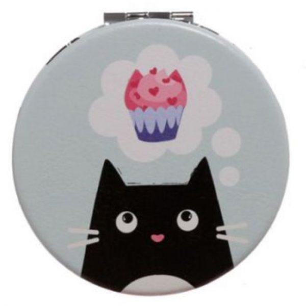Feline Fine Cat Koženkové kompaktní zrcadlo - světle tyrkysové 1 - pro milovníky koček