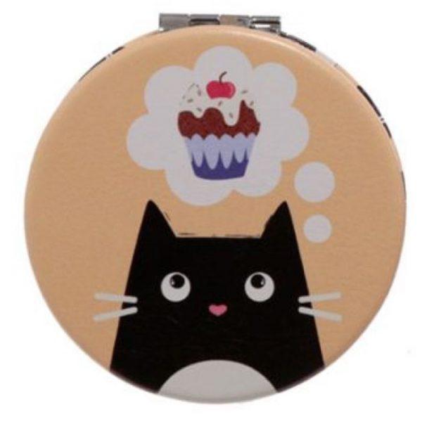 Feline Fine Cat Leatherette Compact Mirror - žlutá 1 - pro milovníky koček