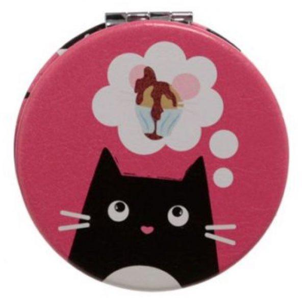 Feline Fine Cat Koženkové kompaktní zrcadlo - růžové 1 - pro milovníky koček