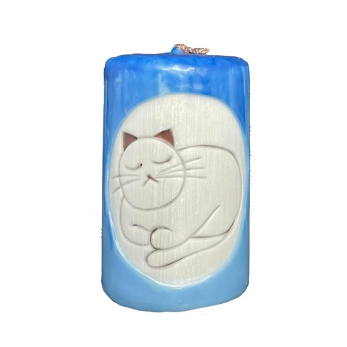 Aromatická ručně vyráběná svíčka - červená s vůní levandule, spící kočka 1 - pro milovníky koček