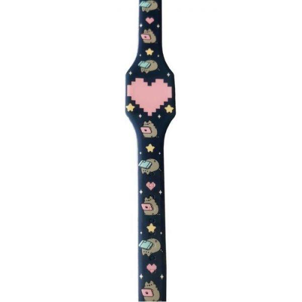 Pusheen Cat Silikonové digitální hodinky - tmavě modré s růžovým srdcem 1 - pro milovníky koček