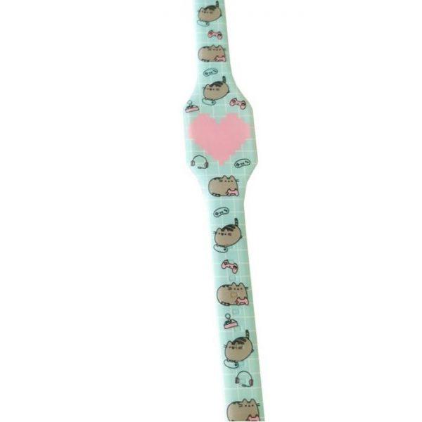 Pusheen Cat Silikonové digitální hodinky - světle modré s růžovým srdcem 1 - pro milovníky koček