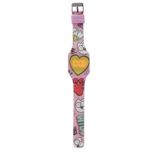 Simon's Cat Silikonové digitální hodinky - růžové se žlutým srdcem 1 - pro milovníky koček