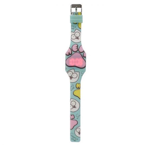 Simon's Cat Silikonové digitální hodinky - modré s růžovou tlapkou 1 - pro milovníky koček