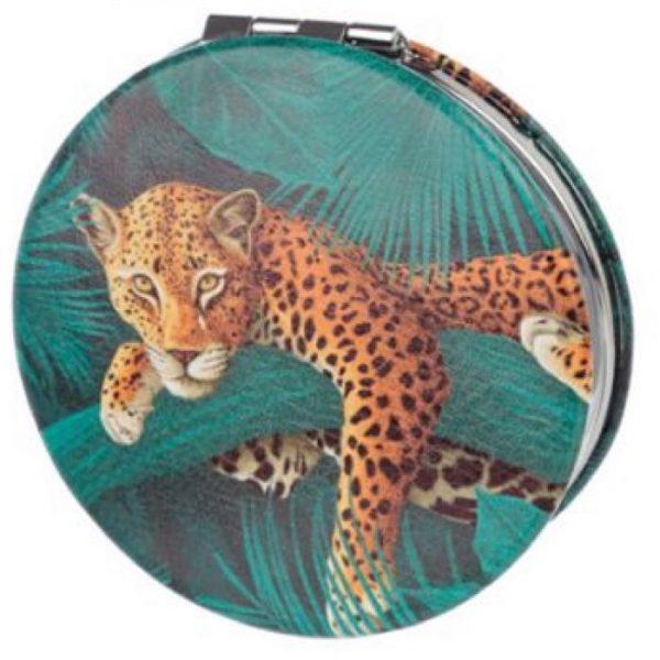 Spots & Stripes Big Cat Koženkové kompaktní zrcadlo - leopard 1 - pro milovníky koček
