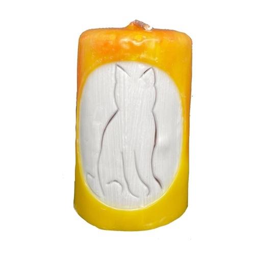 Aromatická ručně vyráběná svíčka - žlutá bez vůně, silueta kočky 1 - pro milovníky koček